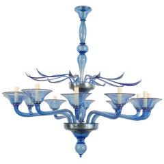 Italian Venetian Murano 1940s Style 'Modern' Blue Glass Chandelier