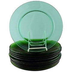 Vereco, France, Ten Plates in Green Art Glass, Mid-Century Modern