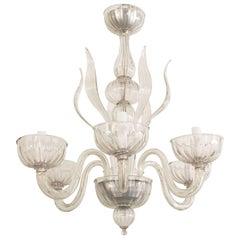 Italian Venetian Murano 1940s Style 'Modern' Clear Glass Chandelier