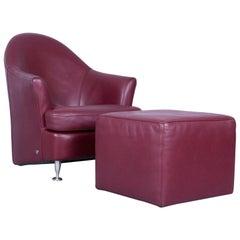 Natuzzi Designer Leather Armchair Set Stool One-Seat Red