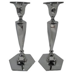 Pair of Tiffany Art Deco Sterling Silver Candlesticks