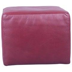 Natuzzi Designer Stool Leather Red