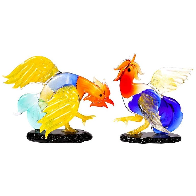 Pair of Murano Rooster Figures