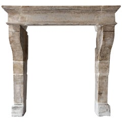 Antique Fireplace of French Limestone in Campagnarde Style, 897