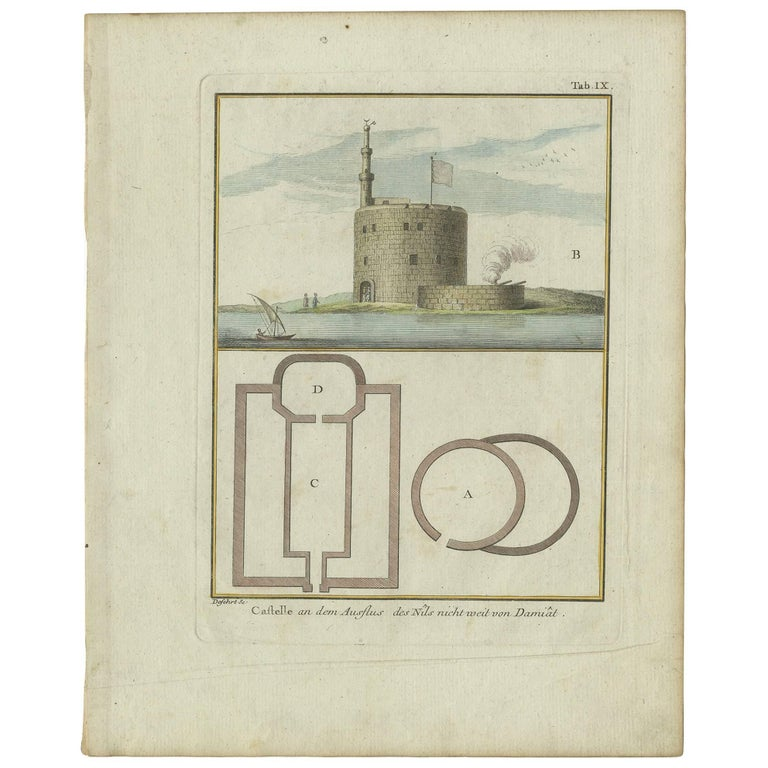 Antique Print of the Fortress at the Nile 'Damietta, Egypt' by C. Niebuhr, 1774