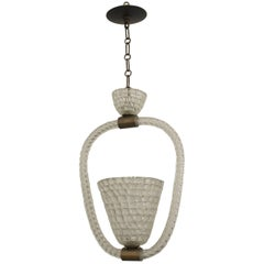 Italian 1940s Lantern with a Conical Shaped Centered Woven Form