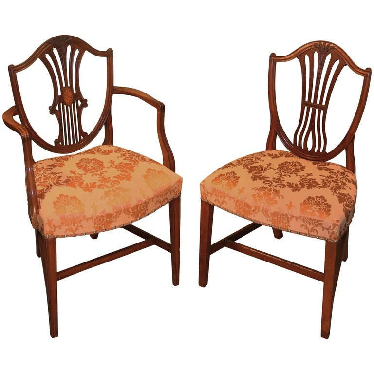 Matched Set of Ten 18th Century Hepplewhite Period Mahogany Dining Chairs