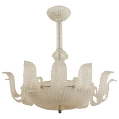 Italian Murano 1940s Gold Dusted and Textured Glass Chandelier