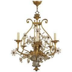 French 1940s Gilded Iron Chandelier, by Baguès