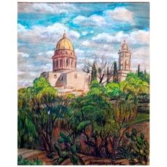 """Schnakenberg 1949 Watercolor """"La Concepcion"""" San Miguel Allende"""