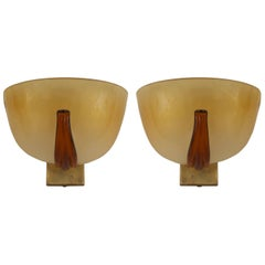 Pair of Italian 1940s Venetian Murano Gold Dusted Glass Wall Sconces