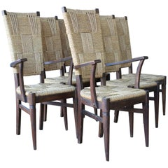 Set of Six Dining Chairs by Audoux-Minet, France, 1950s