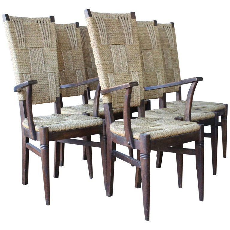 Set of Six Dining Chairs by Audoux-Minet, France, 1950s For Sale