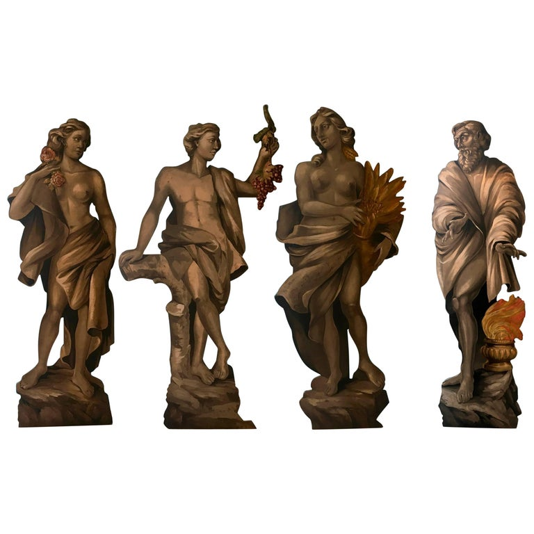 Four Large Italian Theatrical Props or Paintings of Classical Figures For Sale