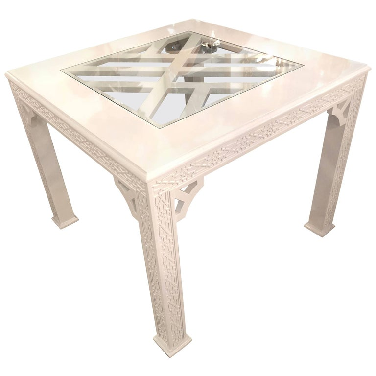 Vintage Fret Chinese Chippendale Game Dining Table Lacquered White Palm Beach