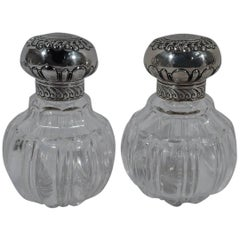 Pair of Pretty Antique English Sterling Silver and Glass Perfumes