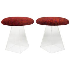 Pair of 1950s Lucite Stools in Jack Lenor Larsen Velvet