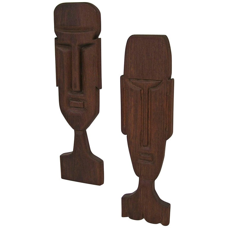 1950s Tiki Figural Solid Teak Wall Art Hangings, Pair For Sale at ...
