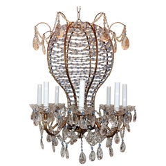 Fine Beaded Italian Baby Blue Crystal Hot Air Balloon Chandelier Fixture Pendent
