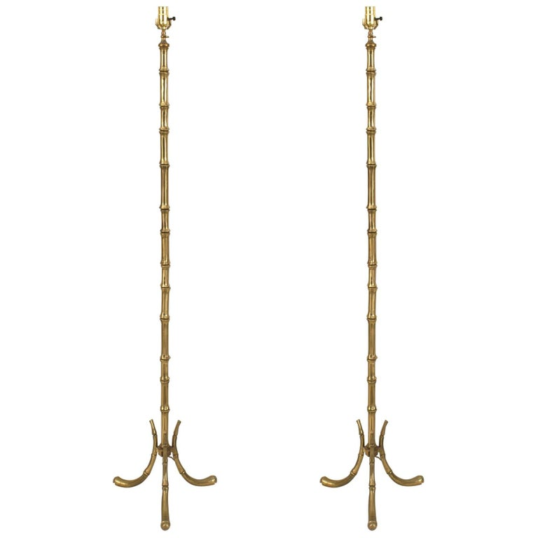French 1940 Gilded Bronze Thick Faux Bamboo Floor Lamps