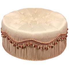 Large Round Silk Upholstered Pouf