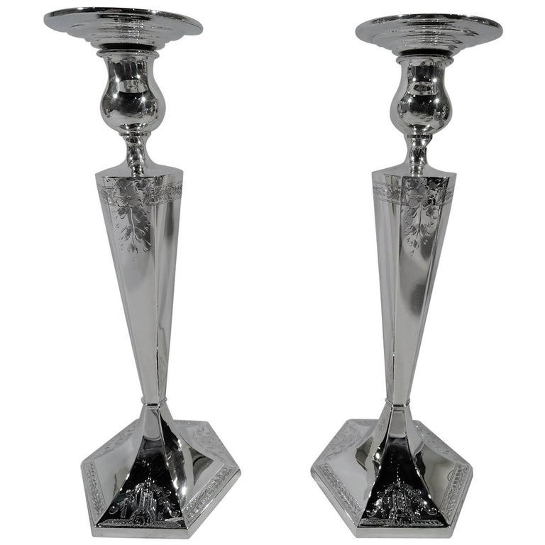 Pair of Antique American Edwardian Sterling Silver Candlesticks For Sale