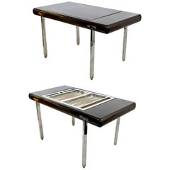 Mid-Century Modern Chrome and Wood Desk Backgammon Game Table 1970s Pace Brueton