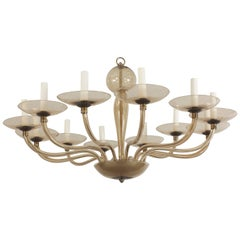 Italian Murano 1930s Smoky Glass Chandelier with 12 Scroll Form Arms