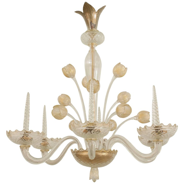 Italian Murano 1940s Gold Dusted Glass Chandelier with Six Scroll Arms