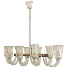 Italian 1940s Chandelier with Six Arms, by Barovier e Toso