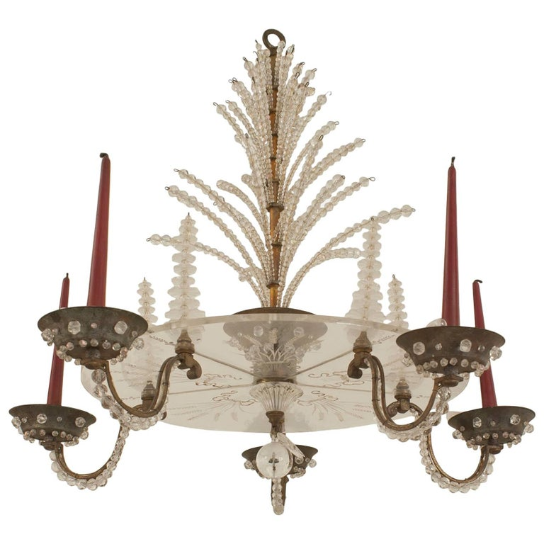 French 1940s Oxidize Bronze Chandelier with Five Scroll Arms