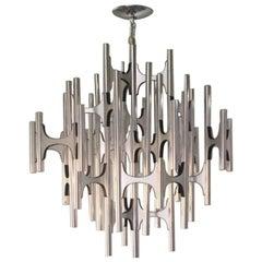 Gaetano Sciolari for Lightolier Chrome Aluminium Chandelier 54 Lights Midcentury