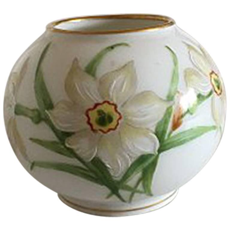Royal Copenhagen Art Nouveau Overglaze Vase With Spring Flowers For