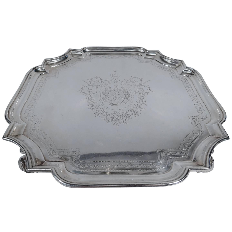 Early English Georgian Sterling Silver Cartouche Salver Tray