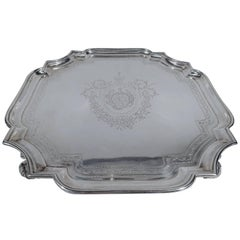 Early English Georgian Sterling Silver Cartouche Salver Tray