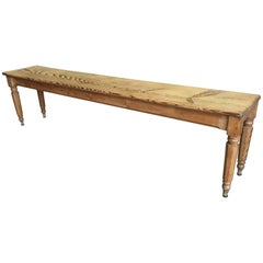 French Country Pine Bench, 19th Century