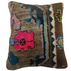 Vintage Turkish Kars Rug Pillow