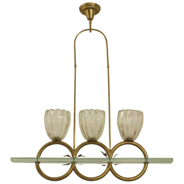 Italian 1940 Chandelier with Three Large Fluted Clear Glass Shades