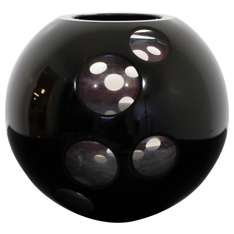 Contemporary Cased Mazzega Murano Black Glass Vase Art Sculpture Polished Lenses For Sale