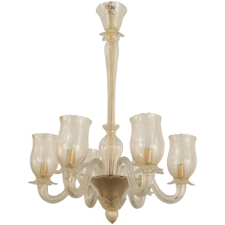 Italian Murano 1940s Gold Dusted Chandelier
