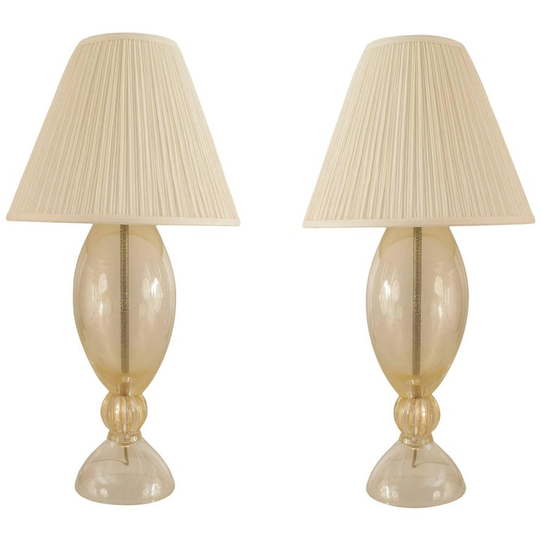Pair of Italian Venetian 1940s Gold Dust Murano Glass Lamps