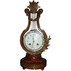 French Clock in a Lyre Shape, Late 19th Century