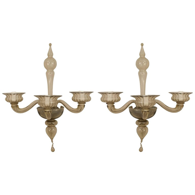 Pair of Italian 1940s Venetian Amber Glass Three Fluted Scroll Arm Wall Sconces