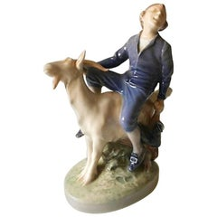 Royal Copenhagen Figurine Boy on Goat #1228 Hans Christian Andersen Fairytale