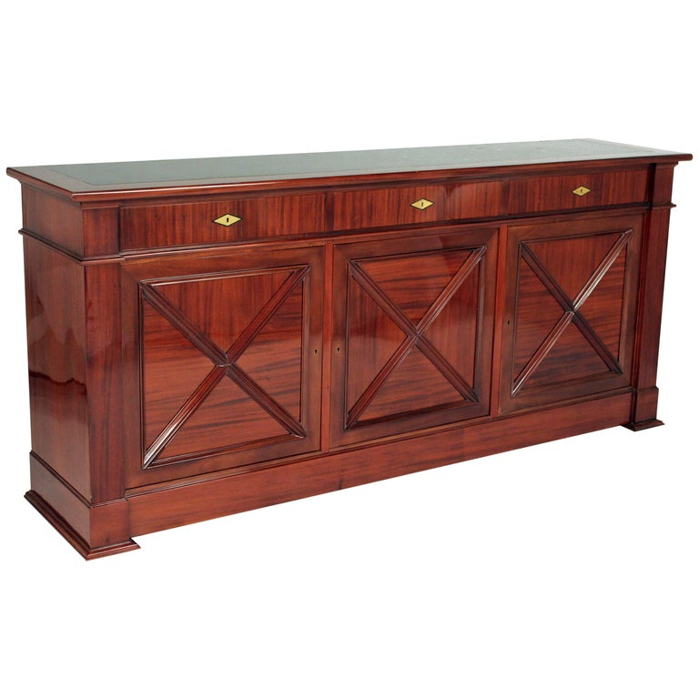 Art Deco Mahogany Sideboard with Black Marble Top by Maxime Old