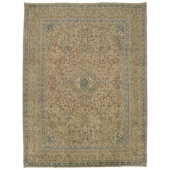 Vintage Persian Kashan Rug with Traditional Style