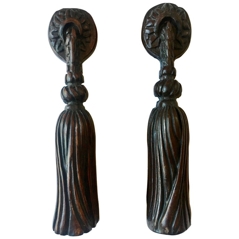 Pair of Hand-Carved Folk Art Wooden Tassels