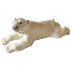 Royal Copenhagen Figurine Polar Bear Laying on Stomach #1250