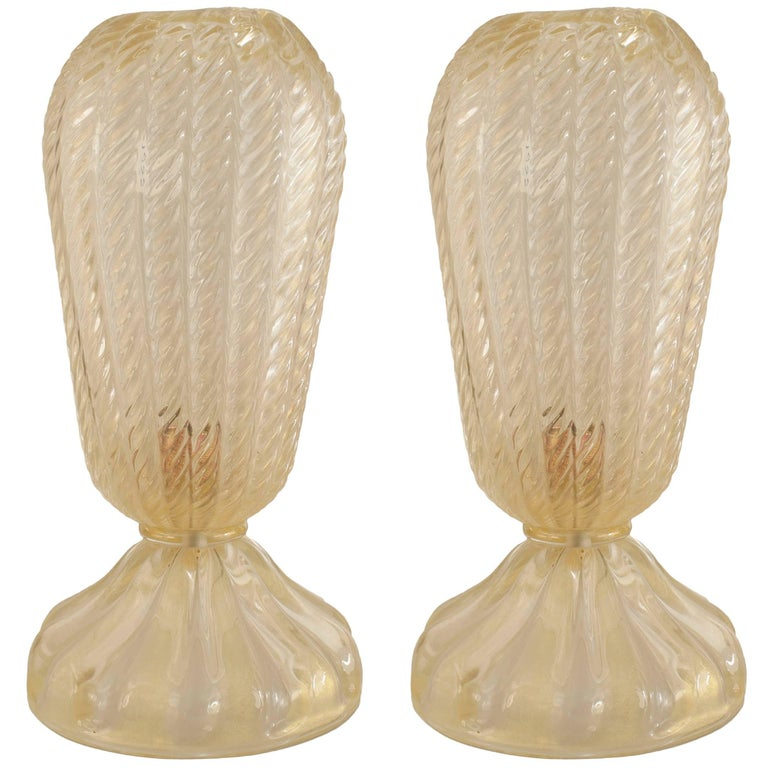 Pair of Italian Venetian 1940s Swirl Gold Dusted Tapered Cylindrical Oval Lamps
