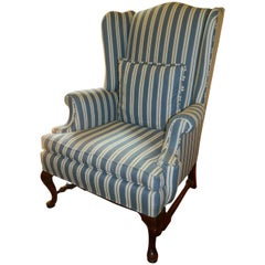 Upholstered Wing Back Chair with Stretchers, 20th Century